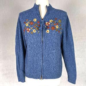 Vintage Blue Flower Bee Embroidered Sweater Jacket